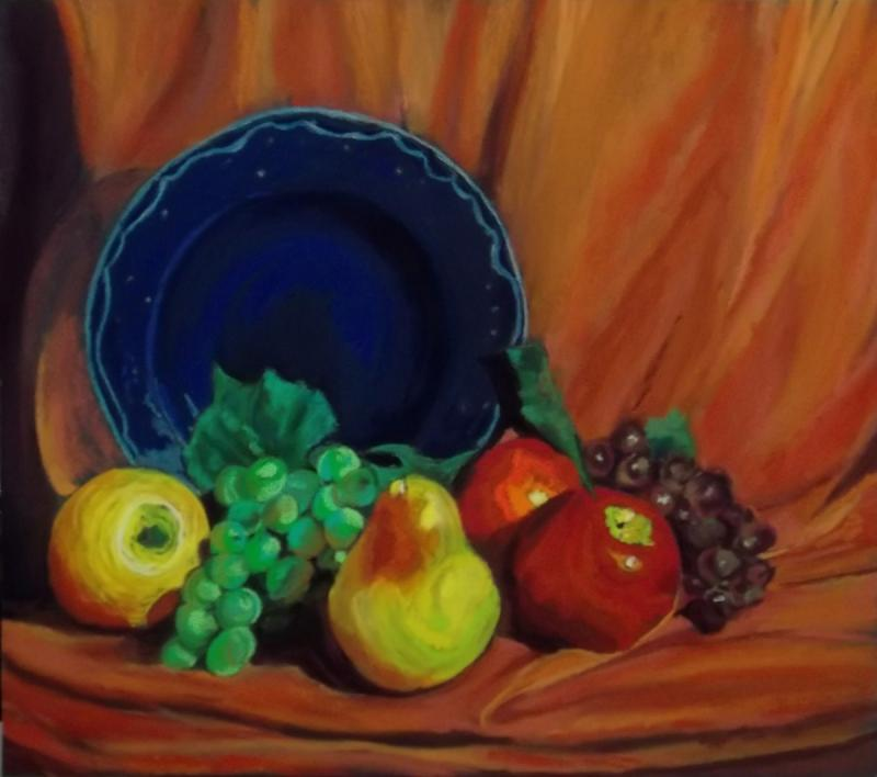 Fruit With Blue Bowl